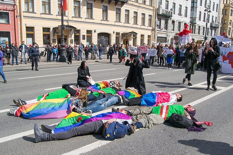 Activists+in+Saint+Petersburg+protest+human+rights+violations+in+Chechnya.