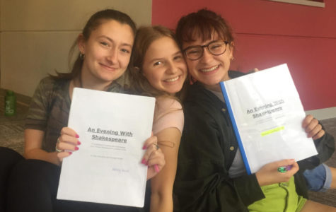 Cast members of de Toledo's first play of the season (left to right): Abbey G., Sara F. and Hannah L.